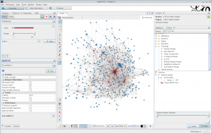 Screenshot of Gephi showing package dependencies of a Debian wheezy server.